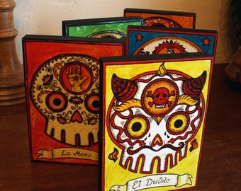 Wood Mounted Print - Calavera Loteria - Image series for Day of the Dead