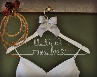 TWO LINE HANGERS: Personalized Bridal Hanger, Wedding Dress Hanger, Custom Wire Name Hanger, Bridal Gift