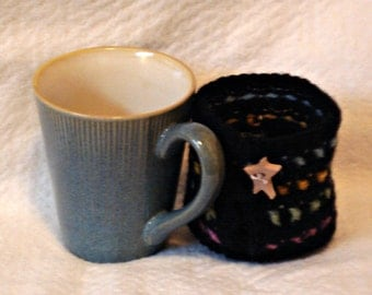 Mug and Cozy with a Built-in Coaster Set - Illusion Teal Stoneware Mug with Black/Multi Cozy