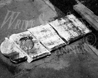 Headstone, Black & White, Cemetery, Concrete, Epitaph, Biloxi, Mississippi, Photography