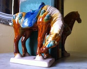 Reserved for Irena. Pair of Glazed Ceramic Majolica/Tang Dynasty Style Horse Bookends from CrescentThriftshop on Etsy