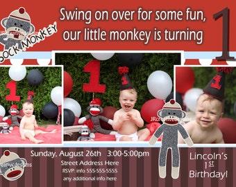 Sock Monkey Invite Sock Monkey Invitation Boy - 1st Birthday Party Invite - Sock Monkey Birthday  Sock Monkey Party  Boy 1st birthday invite