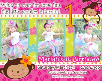 monkey love invite birthday photo invite  year old  years, invitation samples
