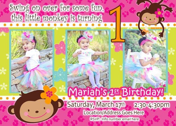 monkey love  birthday photo invite   year old  years old party, invitation samples