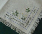 Luncheon Tablecloth Cross Straight Stitching Herbs Fringed Garden Kitchen