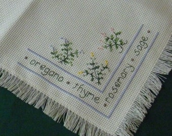Luncheon Tablecloth Cross Straight Stitching Herbs Fringed Garden Kitchen