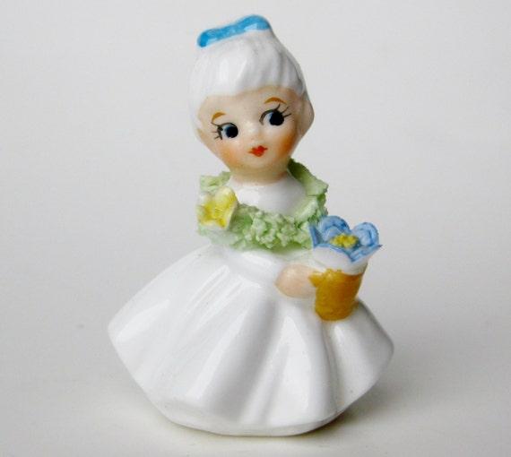Vintage 50s Napco Napcoware Bone China Flower Girl Of The