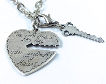 """He Who Holds the Key Can Unlock My Heart Necklace, Antique Silver, 18"""""""