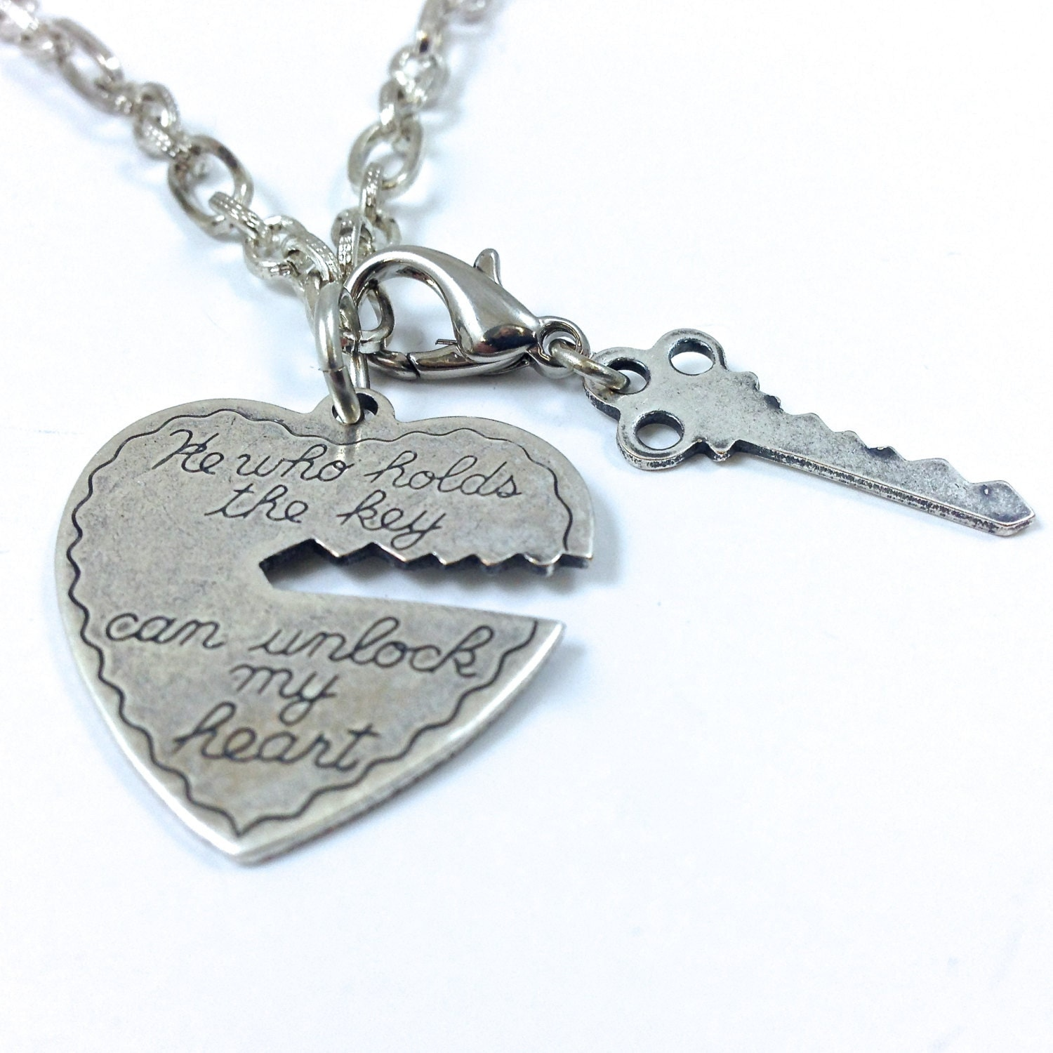 He Who Holds the Key Can Unlock My Heart Necklace Antique