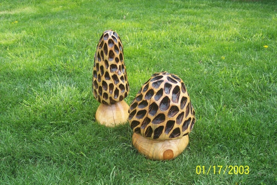 Chainsaw carving carved morel by gearyscustomcarvings