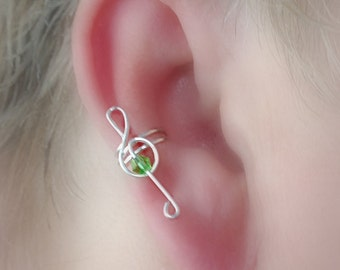 Ear Cuff Treble Clef Crystal Accent Choice of colors