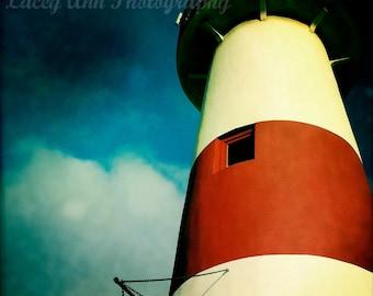 Lighthouse on a Blue Sky square color photograph nautical original photo