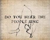 Antique Ornate Les Miserables People Sing Digital Download for Papercrafts, Transfer, Pillows, etc Burlap No. 7893