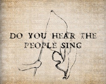 Antique Ornate Les Miserables People Sing Digital Download for Papercrafts, Transfer, Pillows, etc Burlap No. 7893