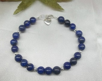 Blue Lapis Strand Bracelet Lapis Bracelet Sterling Silver Bracelet Lapis Lazuli Bracelet Heart or Cross Bracelet Adjustable BuyAny3+1Free
