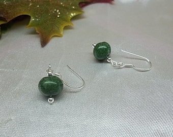 Dark Green Jade Earrings 925 Sterling Silver 14k Gold Filled Stamped gf 1/20 Dangle Earrings Drop BuyAny3+Get1Free