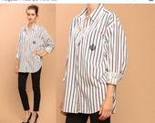 white striped shirt blouse // vintage 80s // oxford preppy emblem crest // oversized boxy fit // menswear // button up // one size