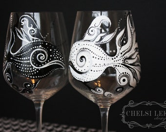 Hand Painted Wine Glass: Black Fish White Fish, set of 2