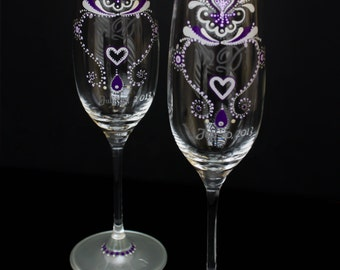 Hand Painted & etched Personalized Champagne Glass- Set of two