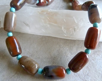 Large Arizona Petrified Wood Opal and Blue Nacozari Turquoise Artisan Statement Necklace and Earrings