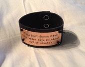 Supernatural Inspired Handstamped Bracelet 'This isn't funny Dean.....'