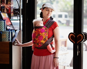 Mei Tai for newborn or toddler for Front / Back / Hip carry. Asian style Baby Carrier. Brown 100% cotton Sling.