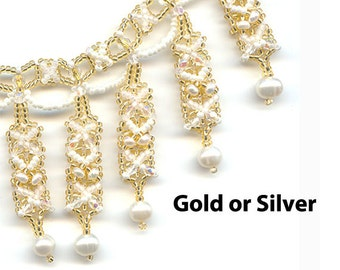 Bead Kit, Necklace Bead Pattern, Silver, Gold, White