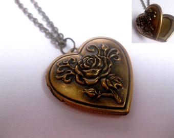 Rose Engraved Bronze Heart Locket