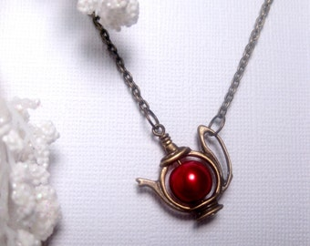 Teapot Necklace - Pearl Necklce - Christmas Red - Japanese Imperial - Pearl Teapot Necklace - Bronze - Brass Teapot