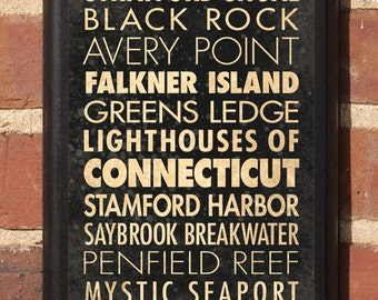 Connecticut CT Lighthouses Wall Art Sign Plaque Gift Present Personalized Color Custom Home Decor Avery Falkner Pecks Penfield Classic