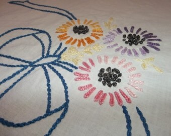 """Vintage Hand made Full Bed Spread...Hand Embroidery...74"""" by 82""""...Good Condition"""