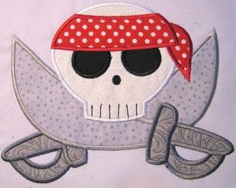 Pirate Skull 05 Machine Applique Embroidery Design - Pirate Skull and Swords Applique - Pirate Skull Applique - Pirate Skull and Swords
