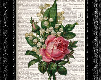 Vintage Flowers 11 - Vintage Dictionary Print Vintage Book Print Page Art Upcycled Vintage Book Art