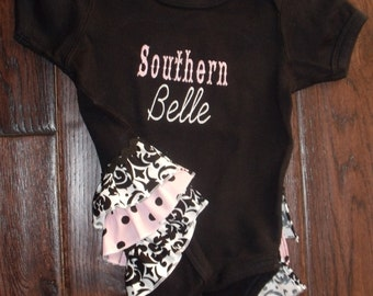Boutique Southern Belle Damask Ruffled Bodysuit Sizes Newborn to 24M