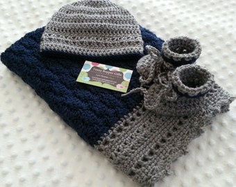 Baby Gift Set, Heirloom Baby Blanket, Beanie Hat and Booties Gift Set, Dark Country Blue and Heather Grey