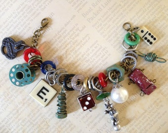Industrial Chic Metal Urban Mixed Media Altered Art Steampunk Charm Bracelet