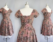 40s vintage rose print dress // corset cinching back // size XS - S - AnatomyVintage