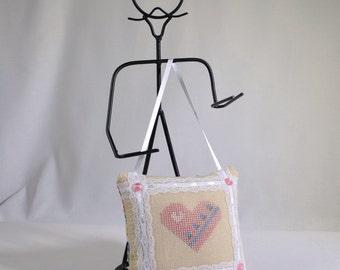 Cross Stitch Heart Door Pillow Pinkeep Hanger Handmade