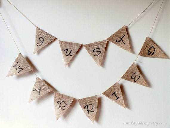 SALE Burlap Banner Just Married Bunting