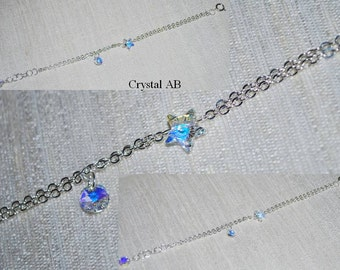 Swarovski Crystal Bracelet, Crystal Star and Chain Bracelet, Double Chain Bracelet, Friendship Bracelet, Wedding jewelry, Crystal AB