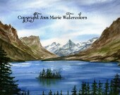 "St. Mary's Lake, Glacier National Park, Montana - 8"" x 10"" watercolor - signed giclee print"