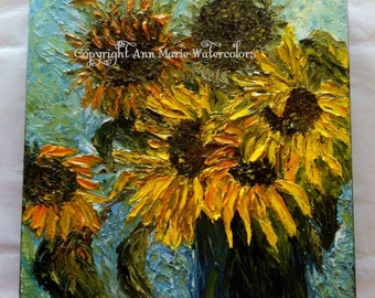 Sunflower Greeting - 10 x 10 abstract floral oil painting, giclee or canvas print