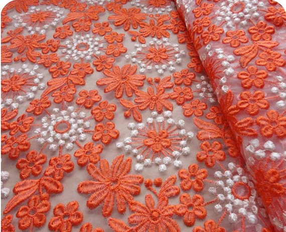 Orange lace fabric french gauze lace fabric wedding dress lace