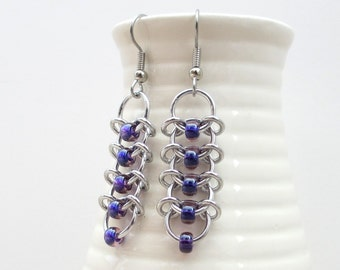 Purple chainmaille earrings, Centipede weave