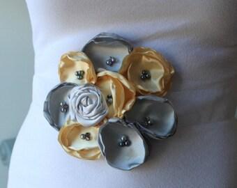 Bridal Sash, Maternity Sash, Wedding Sash, Pregnancy Photo Prop, Belly Band in Pale Yellow and Gray