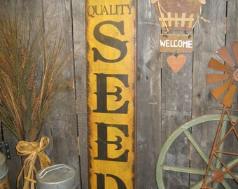 """Primitive wood Extra Lg sign 30"""" hand painted """" Olde Quality SEEDS Company """" country folkart wall Housewares Decor"""