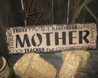 """Primitive Wood Subway MOTHER Sign """" Mother """" Handpainted Country Folkart Housewares Wall Decor"""