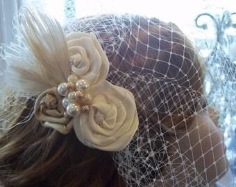 Bridal Birdcage Headpiece - Ivory Peacock, Pearls - A Bijoux Bridal Chicago Signature Design
