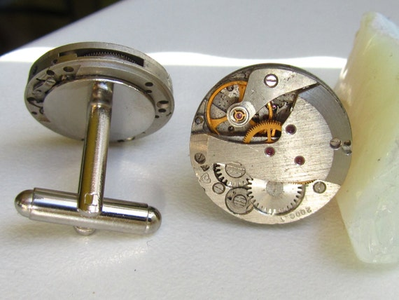 Steampunk Cufflinks with small round vintage watch movements.  Vintage upcycled mens Cuff Links