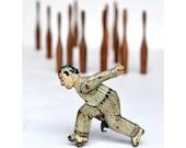 8x10 PRINT Vintage bowler vintage bowling pins vintage tin toy photo by Elizabeth Rosen